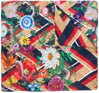 Gucci Floral Snake Chevron scarf