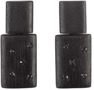Josie Natori Acacia Wood With Silver Stacked Earrings