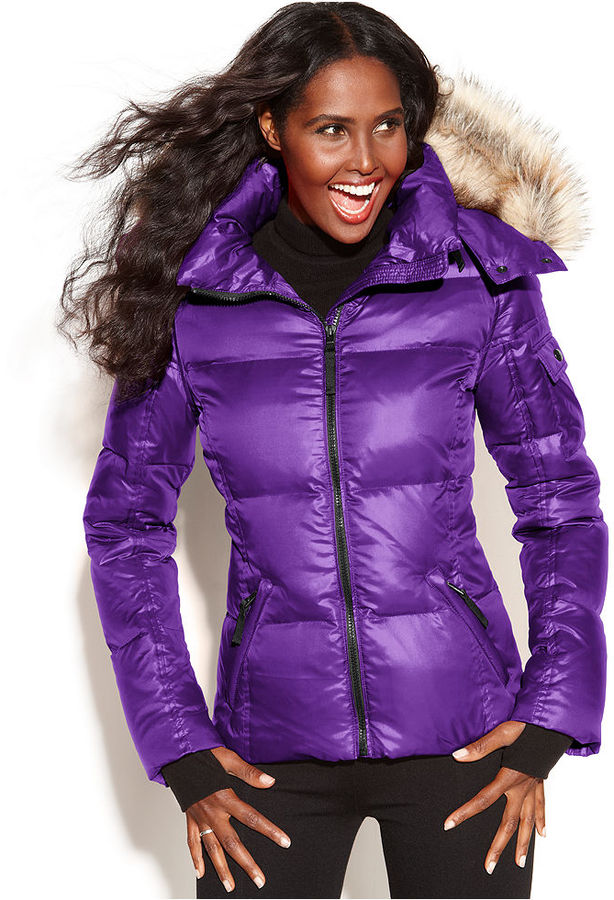 S13/NYC Hooded Faux-Fur-Trim Quilted Puffer Coat