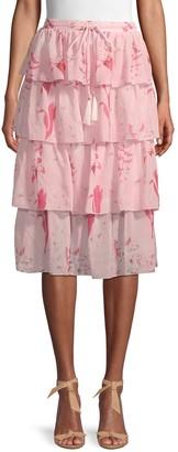 Avantlook Floral Tiered Skirt