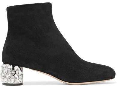Miu Miu - Crystal-embellished Suede Ankle Boots - Black