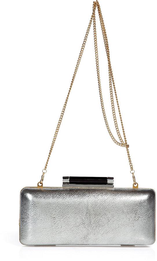 Diane von Furstenberg Silver Tonda Metallic Clutch