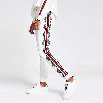 River Island White lace and tape side joggers