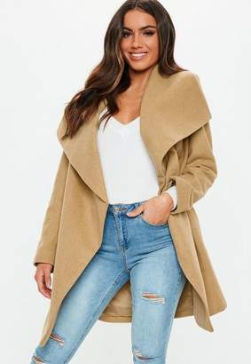 Missguided Camel Belted Waterfall Coat