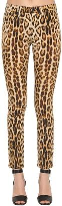 Roberto Cavalli Skinny Leopard Print Stretch Denim Jeans