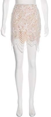 For Love & Lemons Lace Accent Knee-Length Skirt