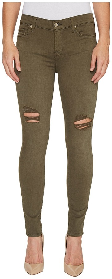 7 For All Mankind7 For All Mankind - The Ankle Skinny Jeans w/ Destroy in Olive Women's Jeans
