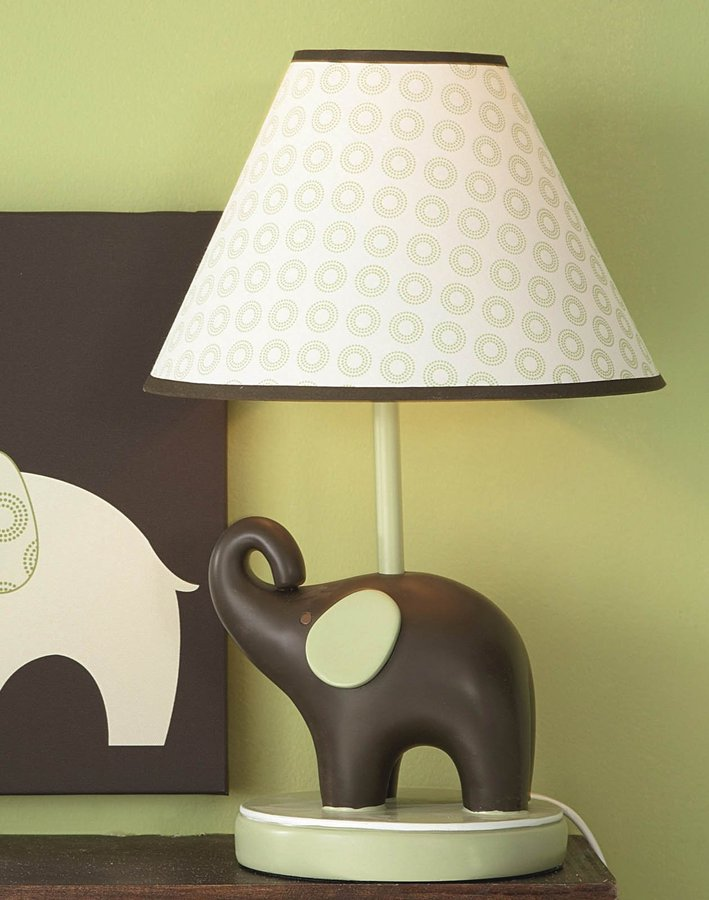 Carter's Lamp Base And Shade Green Elephant
