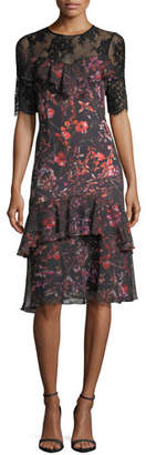Rickie Freeman For Teri Jon Tiered Lace-Yoke Floral-Printed Midi Cocktail Dress