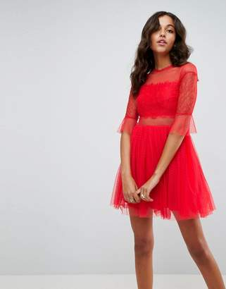 Asos DESIGN Tulle Mini Dress with Lace Sleeves