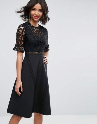 Asos DESIGN Premium Lace Insert Midi Dress