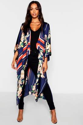 boohoo Jessica Border Scarf Print Asymmetric Kimono