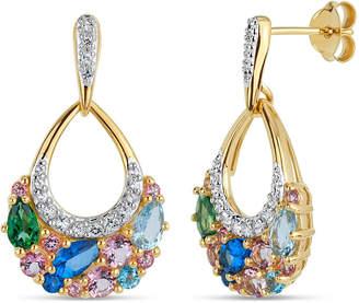 Swarovski FINE JEWELRY 18K Gold over Silver Multi Color Topaz Cluster Drop Earrings featuring Genuine Gemstones