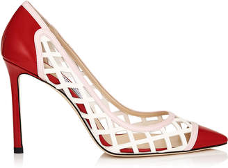 Jimmy Choo ROMY 100 Rosewater Diamond Perforated and Patent Mix Pointy Toe Pumps