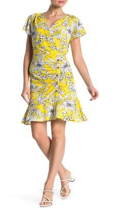 ECI Printed Side Ruched Button-Up Dress