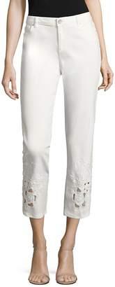 Elie Tahari Women's Kiana Embellished Cropped Jeans - White, Size 28 (4-6)
