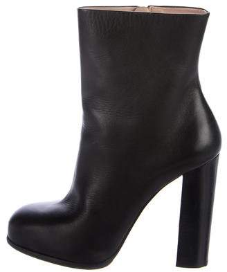 Céline Leather Round-Toe Ankle Boots