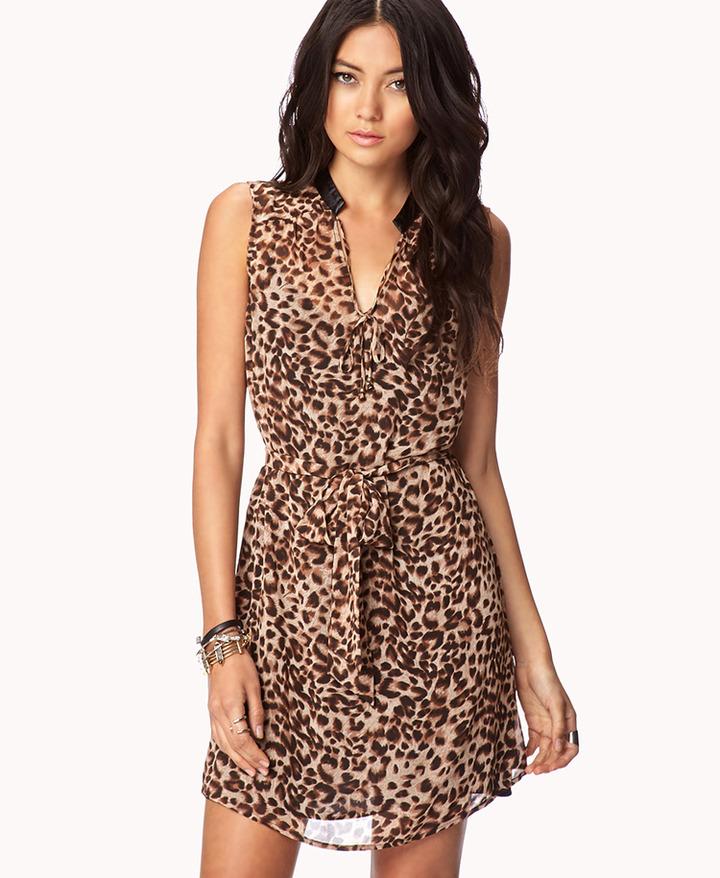 Forever 21 Leopard Print Chiffon Dress