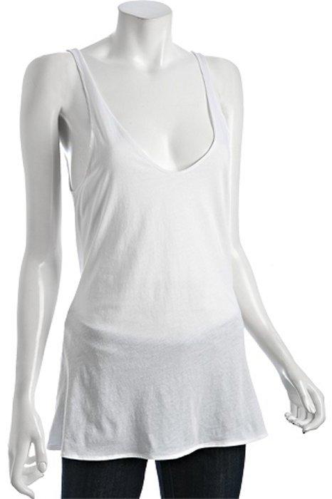 Fluxus off white cotton jersey deep v-neck tank