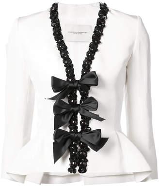 Carolina Herrera embellished trim blazer