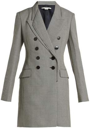 Stella McCartney Double-breasted houndstooth-wool dress