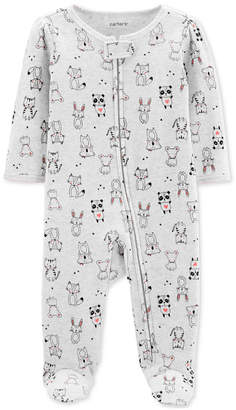 Carter's Carter Baby Girls 1-Pc. Animal-Print Cotton Footed Pajamas