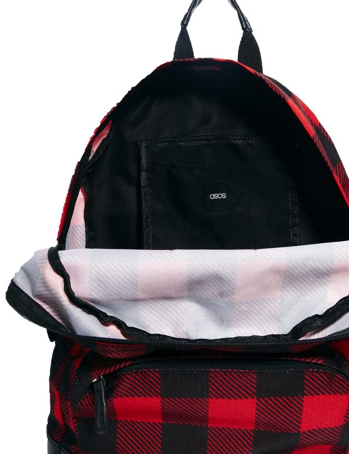 Asos Backpack With Lumberjack Check