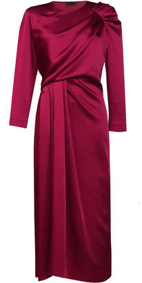 Lake Studio Draped Satin Midi Dress