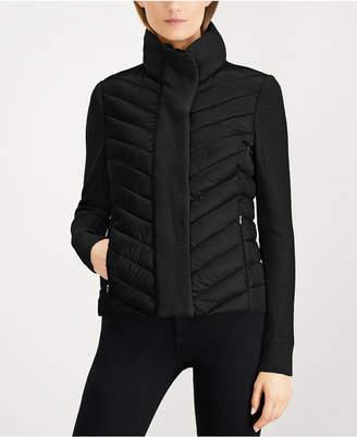 Calvin Klein Quilted Sweater-Trim Puffer Coat