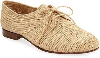 Manolo Blahnik Faza Woven Raffia Lace-Up Sneakers
