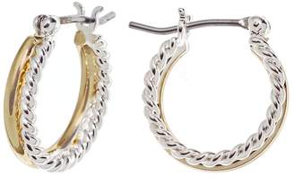 Napier Two Tone Double Hoop Earrings