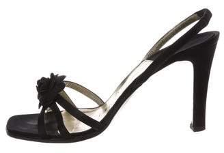 Chanel Camellia Satin Sandals