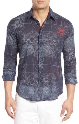 Men's Vilebrequin Regular Fit Sonar Print Sport Shirt $260 thestylecure.com