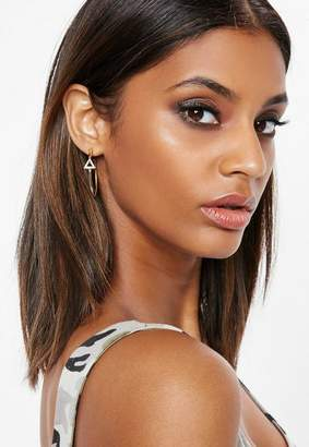 Missguided Gold Diamante Triangle Hoop Earrings