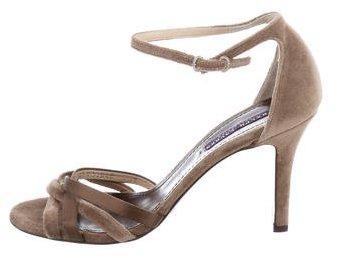 Ralph Lauren Collection Velvet Ankle Strap Sandals