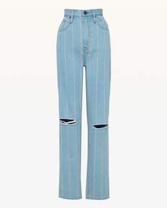Juicy Couture Pinstripe Denim Girlfriend Jean