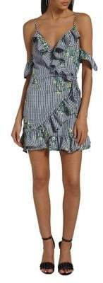 Missguided Floral Embroidered Gingham Tea Dress