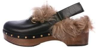 Gucci Amstel Horsebit Fur-Trimmed Clogs