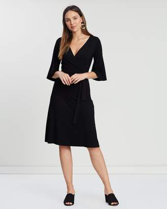 Dorothy Perkins Wrap Midi Fit-and-Flare Dress