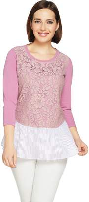 Logo By Lori Goldstein LOGO Lounge by Lori Goldstein Knit Top with Lace Front & Woven Bottom