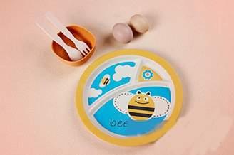 lucky Kiss-baby Dinner Plate Bamboo fiber child Dinnerware Set baby Cute Animals Divided Dinner plate/bowl/Spoon/fork