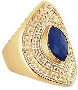 Anna Beck 18K Yellow Gold Plated Sterling Silver Marquise-Cut Lapis Shield Ring