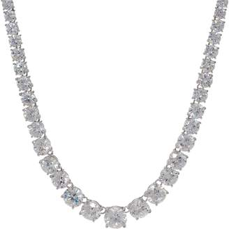 Diamonique Royal Collection Tennis Necklace Sterling Silver