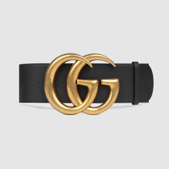 Wide leather belt with Double G 3