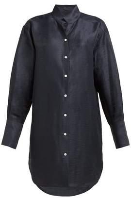 Frame Stand Collar Linen Blend Shirtdress - Womens - Navy