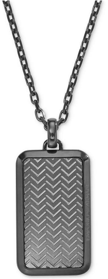Armani Exchange Emporio Armani Men's Gunmetal Textured Dog Tag Pendant Necklace EGS2255