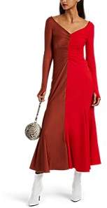 Marine Serre Women's Two-Tone Jersey Dress - Red