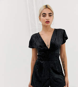 Miss Selfridge Petite velvet playsuit in black