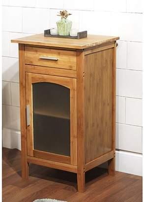 Bamboo Linen Floor Cabinet with Glass Door 23037NAT