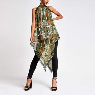 River Island Womens Green scarf print halter neck top